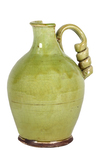 UTC76039 Ceramic Round Bellied Tuscan Vase with Coiled Handle Craquelure Distressed Gloss Finish Yellow Green