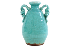 UTC76044 Ceramic Round Bellied Tuscan Vase with 2 Looped Handles Craquelure Distressed Gloss Finish Marine Blue