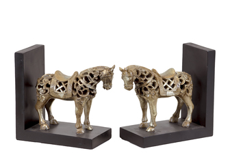 UTC80146-AST Resin Standing Horse Figurine with Saddle Bookend Assortment of Two Glaze Finish Champagne