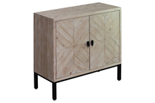 UTC92131 Wood Rectangular Cabinet with Lattice Chevron Design Body,4 Short Legs and 2 Metal Door Natural Wood Finish Brown