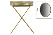 UTC94163 Metal Oval Butler Tray Table with Mirror Surface Pierced Metal Electroplated Finish Gold