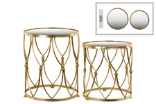 UTC94194 Metal Round Table with Beveled Mirror Top Set of Two Distressed Metallic Finish Gold