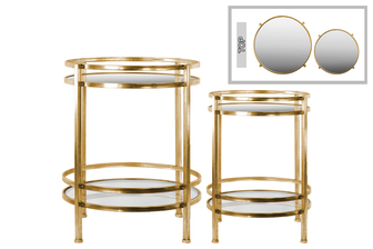 UTC94195 Metal Round Table with Beveled Mirror Base and Clear Glass Top Set of Two Distressed Metallic Finish Gold