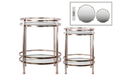 UTC94196 Metal Round Table with Beveled Mirror Top and Clear Glass Base Shelf Set of Two Distressed Metallic Finish Champagne