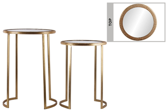 UTC94197 Metal Round Table with Beveled Mirror and Pierced Metal Frame Top Set of Two Distressed Metallic Finish Gold