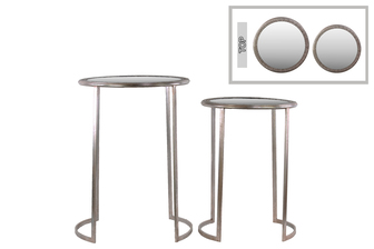 UTC94198 Metal Round Table with Beveled Mirror and Pierced Metal Frame Top Set of Two Distressed Metallic Finish Silver