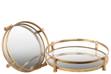 UTC94205 Metal Round Tray with Beveled Mirror Surface Set of Two Tarnished Finish Gold