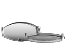 UTC94215 Metal Elliptical Tray with Mirror Surface, Curved Metal Handles and Pierced Metal Sides Set of Two Electroplated Finish Silver