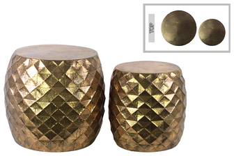 UTC94223 Metal Round Table with Embossed Lattice Design Set of Two Metallic Finish Gold