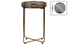 UTC94232 Metal Tall Round Butler Tray Table with Mirror Top, Pierced Metal Sides and 4 Straight Legs on Pedestal Base Metallic Finish Antique Gold