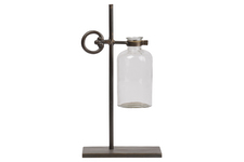 UTC94257 Metal Bud Vase Holder with Round Side Handle and Suspended Glass Bottle Vase on Stand Metallic Finish Bronze