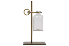UTC94258 Metal Bud Vase Holder with Side Round Handle and Suspended Glass Bottle Vase on Rectangle Base Metallic Finish Gold