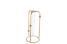 UTC94263 Metal Round Bud Vase Holder with Hanging Tube Glass Vase on Base MD Coated Finish Gold