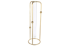 UTC94264 Metal Round Bud Vase Holder with Hanging Tube Glass Vase on Base LG Coated Finish Gold
