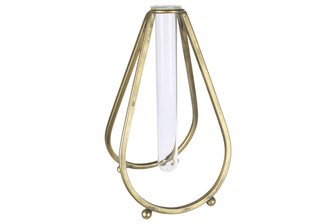 UTC94265 Metal Bud Vase Holder in Bellied Design Stand with Hanging Tube Glass Vase Coated Finish Gold
