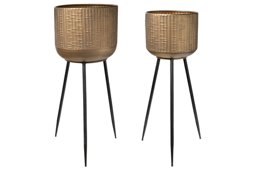 UTC94268 Metal Round Planter with Corrugated Design Body and Tapered Bottom on Tripod Stand Set of Two Metallic Finish Gold