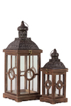 UTC94617 Wood Square Lantern with Black Pierced Metal Top, Ring Hanger and Glass Windows Set of Two Weathered Wood Finish Brown