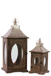 UTC94633 Wood Square Lantern with Silver Pierced Metal Top, Ring Hanger and Glass Windows Set of Two Stained Wood Finish Brown