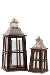 UTC94634 Wood Square Lantern with Silver Pierced Metal Top, Ring Hanger and Glass Windows Set of Two Stained Wood Finish Brown