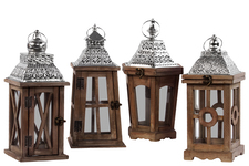 UTC94635-AST Wood Square Lantern with Silver Pierced Metal Top, Ring Hanger and Glass Windows Assortment of Four Stained Wood Finish Brown