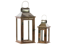 UTC94638 Wood Square Lantern with Chrome Silver Metal Top, Ring Hanger and Glass Windows Set of Two Stained Wood Finish Brown