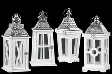 UTC94641-AST Wood Square Lantern with Silver Pierced Metal Top, Ring Hanger and Glass Windows Assortment of Four Coated Wood Finish White