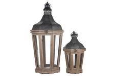 UTC94646 Wood Octagon Lantern with Distressed Black Metal Fliptop, Ring Hanger and Glass Covered Sides Set of Two Natural Finish Dark Brown