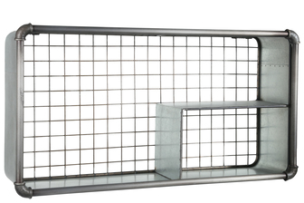 UTC94649 Metal Rectangle Wall Shelf with 3 Slots, Pipe Design Front Edges and Back Screen Cover Galvanized Finish Gray