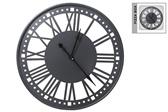 UTC94654 Metal Round Wall Clock with Box and Roman Numerical Design Painted Finish Black