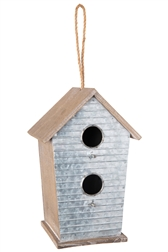 UTC94657 Wood Rectangle Bird House with Top Rope Hanger, Double Window and Porch in Front Corrugated Metal Design Body on Base Natural Finish Brown