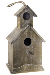 UTC94658 Wood Rectangle Bird House with Double Roof and Window Design Natural Finish Brown