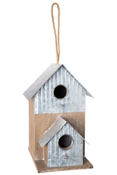 UTC94659 Wood Rectangle Bird House with Top Rope Hanger, Double Window and Porch and Attached Corrugated Metal Design on Base Natural Finish Brown