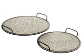 UTC94660 Metal Round Tray with Thick Cross Weaving Bamboo Surface Design Set of Two Metallic Finish Copper