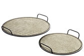 UTC94661 Metal Round Tray with Cross Weaving Bamboo Surface Design Set of Two Metallic Finish Copper