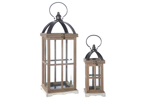UTC94662 Wood Rectangle Lantern with Metal FlipTop, Handle and Glass Sides Window Pane Cover Design Set of Two Natural Finish Brown