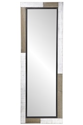 UTC94663 Wood Rectangle Leaning Mirror with White Pattern and Metal Design Frame Natural Finish Brown