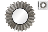 UTC94665 Wood Round Wall Mirror with Box and Sunburst Design and Metal Frame Distressed Finish White