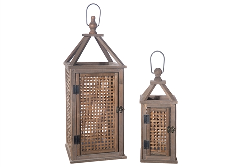 UTC94666 Wood Rectangle Lantern with Metal Top Handle and Bamboo Sides in Lattice Window Cover Design Set of Two Natural Finish Brown