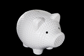UTCC10663 Ceramic Standing Piggy Bank with Embossed Dotted Pattern Design Body Gloss Finish White