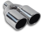 "Vibrant Dual 3.5"" Round Stainless Steel Tips (Single Wall, Angle Cut)"
