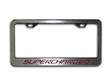 2010 2011 2012 2013 2014 Camaro Supercharged Tag Frame - Polished/Brushed with Carbon Fiber Inlay #102070