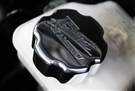 "Camaro ""The Heartbeat of America"" Master Cylinder Cap Cover (Polished, Orange) By Billet Custom"