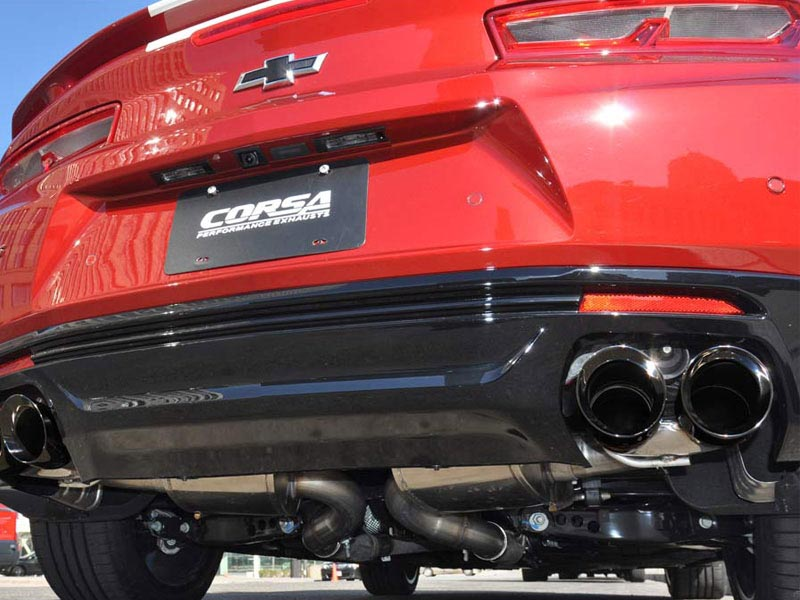 Corsa 2 75 Xtreme Axle Back Exhaust W Quad Tips In Black 2016 2019 Camaro Ss And Zl1 Coupe
