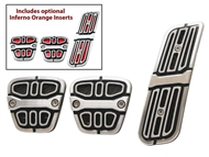 Camaro Pedal Covers (Inferno Orange or Black Inserts) #CA-180005-M - fits all 2010, 2011, 2012, 2013, 2014, 2015 Camaro models w/ Manual Transmission