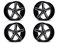 Factory Reproductions IROC-Z Replica Wheels 20x10 & 20x11 Black Machine Face, Set of 4 - fits all 2010-2021 Camaro SS, LS, LT, RS, non-RS, 1LE & ZL1 Models