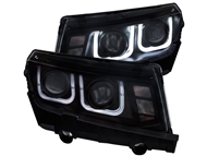 2014-2015 Non-RS Camaro Headlights with U Shaped Halo and Projector Housings # GM649-B1WU0, 02-AZ-CO14-PBC-U