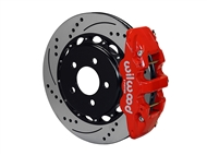 "Wilwood AERO4 Rear Big Brake Kit, Red 4 Piston Calipers, 14.25"" Drilled & Slotted Rotors :: 2016-2019 Camaro SS"