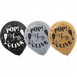 Happy New Year Printed Latex Balloons - Black, Silver, Gold | Party Supplies