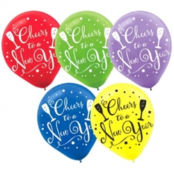 Cheers to a New Year Printed Latex Balloons - Jewel Tones