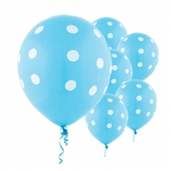 Caribbean Blue Dot Latex Balloons | Party Supplies